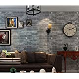 Blooming Wall: Vintage Faux Cultural Gray Brick Pattern Wallpaper, High Quality, 20.8 In*32.8 Ft=57 Sq ft Per Roll,Looks Real Up!