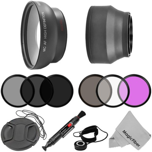 Essential kit for 67MM DSLR Cameras, CANON (18-135mm EF-S IS STM, EF 70-200mm f/4L), NIKON (18-105mm f/3.5-5.6 AF-S DX VR ED Nikkor, 70-300mm f/4.5-5.6G) Lenses – Includes: 0.43X Wide Angle High Definition Lens + Filter Kit (UV, Polarizer, Fluorescent) + Neutral Density Set (ND2, ND4, ND8) + Center-Pinch Lens Cap (w/ Cap Keeper) + Soft Rubber Lens Hood + Lens Cleaning Pen + Premium MagicFiber Microfiber Cleaning Cloth