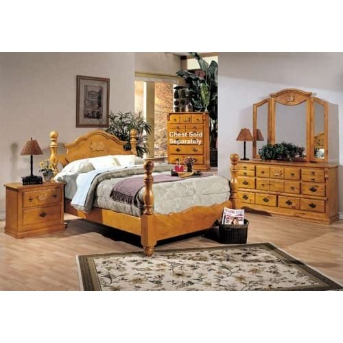 4PC Solid Pine Queen Size Bed Complete