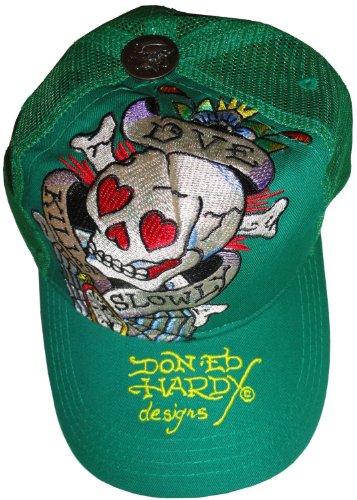 Men's Ed Hardy Hat Ball Cap Love Kills Slowly Green