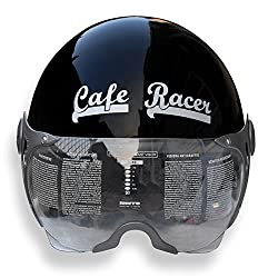 Asco 95026 Black HELMET WITH TRENDY WISER Cafe Racer Logo