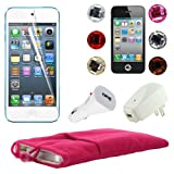 Skque 5 Inch Pink Soft Sleeve Cloth Pouch Velvet Case + Clear Screen Protector Film + USB 1000mAh Home/Travel Wall Charger + Rapid Car Charger + 6 Pcs Bling Diamond Crystal Style Home Button Sticker for Apple iPod Touch 5th Generation