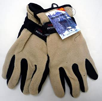 Griffen Thermal Insulated Lined Velcro Adjustable Fleece Gloves (Mens and Womens) (WOMENS TAN)
