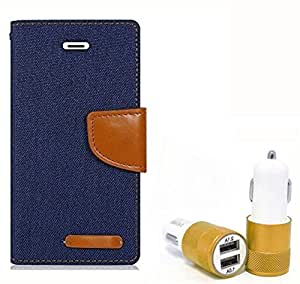 Aart Fancy Wallet Dairy Jeans Flip Case Cover for MotorolaMotoE (NavyBlue) + Dual USB Port Car Charger with Smartest & Fastest Technology by Aart Store.