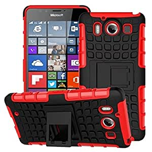 Dashmesh Shopping Hybrid case for Microsoft Lumia 950, Shock Proof Protective Rugged Armor Super Hybrid Heavy Duty Back Case Cover for Microsoft Lumia 950 - HOT RED Color