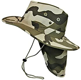 Boonie Bush Safari Outdoor Fishing Hiking Hunting Boating Snap Brim Hat Sun Cap with Neck Flap (Desert Camo, M)