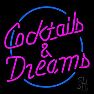 "Amazon.com: Cocktails and Dreams Neon Sign 24"" Tall x 24"" Wide x 3"