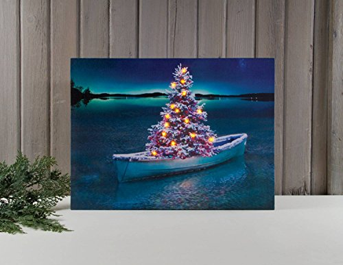 "Ohio Wholesale Christmas Row Boat Lighted Canvas 16.5"" X 22.25"""