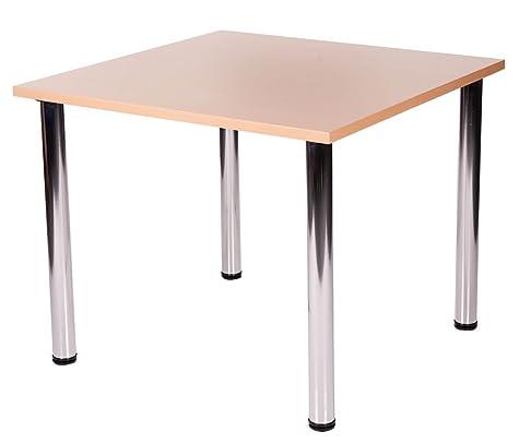 Fabian - Tavolo da cucina quadrato con 4 gambe cromate, metallo Legno, Beige, 60 x 60 cm