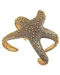 Goldtone Textured Starfish Cuff Bracelet