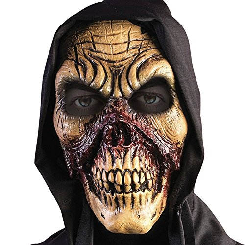 White Skull with Red Bloody Veins Crack design with Black Hood Hood Reaper Mask Zombie Horror Halloween Diablo Devil Head Fancy Dress Accessory