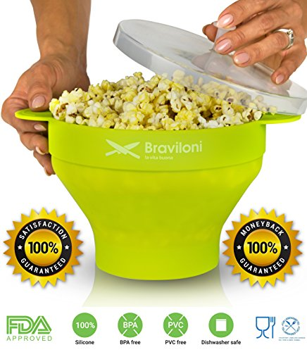 Popcorn Maker - Premium Microwave Popcorn Popper - FDA approved BPA Free Silicone Bowl with Lid - Cook Healthy Popcorn from Kernels at Home Quick (Star Popcorn Machine Switch compare prices)
