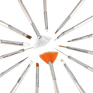 eForCity 15pcs Nail Art Design Brush Set