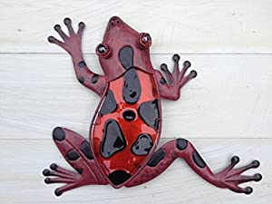 Bright Red With Black Metal & Glass Frog Wall Art by Patio and terrace