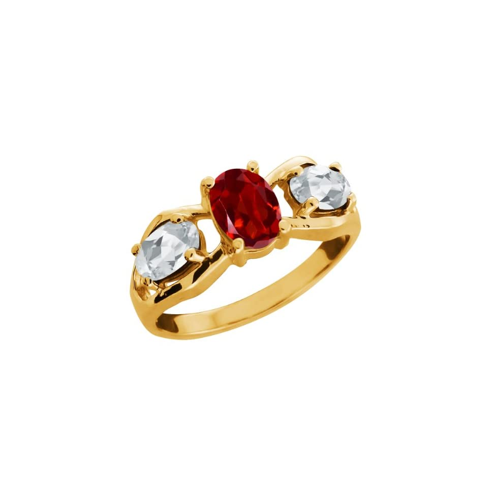 2.00 Ct Oval Red Garnet and Topaz Gold Plated Sterling Silver Ring