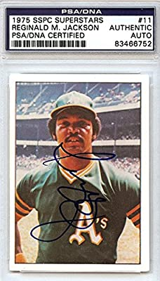 Reggie Jackson Oakland Athletics Autographed PSA/DNA Authenticated 1975 SSPC Superstars Card #11 - Signed Trading Cards