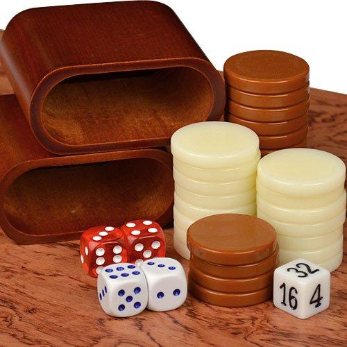 "Backgammon Board Game Set Inlaid Wood Case 19"""