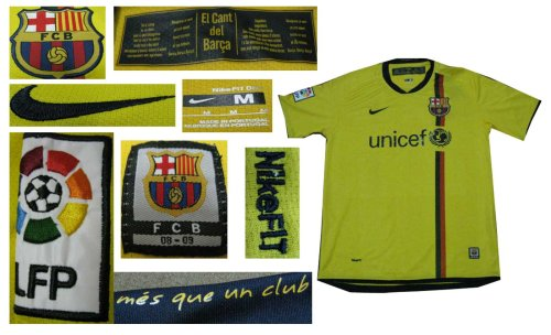 08-09 FC BARCELONA AWAY JERSEY MESSI + FREE SHORT (SIZE XL)