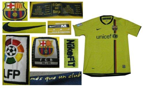 08-09 FC BARCELONA AWAY JERSEY MESSI + FREE SHORT (SIZE XL)