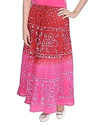 FEMEZONE Women's Cotton Skirt (Orange & Pink, FEML101)