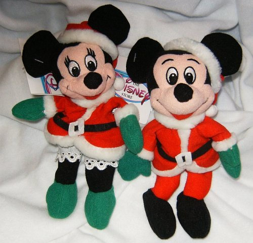 Disneys Mickey and Minnie Santa and Mrs. Claus 7 Mini Bean Bag Plush - 1