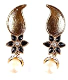 Grandiose Dull Gold Brass Leaf Shaped Jhumki Earrings With Diamonds and Pearl Drop (3 colours)