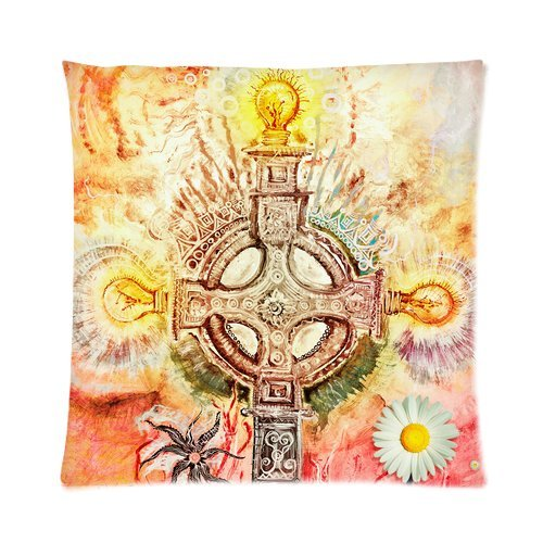 Home Decor Personalized Psychedelic,Celtic Cross Picture Zippered Throw Pillow Cover Cushion Case 16X16 (One Side) front-960466