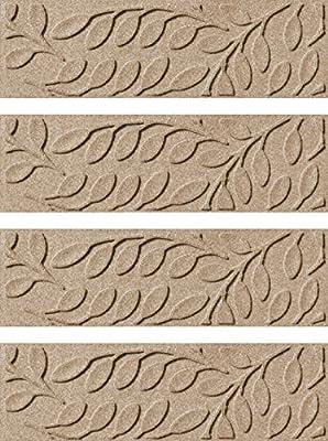 Aqua Shield Brittany Leaf Stair Treads, 8.5 by 30-Inch, Camel, Set of 4