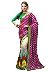 Admyrin Women's Purple And Multi Colour Crepe Georgette Printed Saree With Gr...