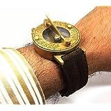 Messing Sonnenuhr Kompass Armbanduhr mit Echtem Wildleder Armband. Steampunk!