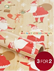 Crimbleberry Wood Christmas Wrapping Paper - 4m