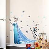 Clest F&H Frozen queen elsa ZY1433 l'ourson wall sticker mural amovible réutilisable pour Enfants / Garçons / Filles / Décoration/Maison/Chambre à coucher etc en PVC...