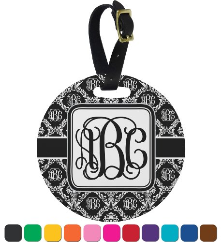 Monogrammed Damask Personalized Round Luggage Tag front-811129