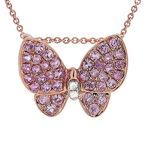 18K Rose Gold Natural Diamond & Pink Sapphire Butterfly Pendant Necklace