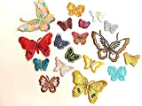 20 Iron On Stick On Fabric Butterfly Motifs Craft Sewing Embroidery Patches
