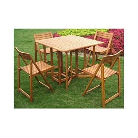 Teak Patio Dining Set Folding Wood Furniture 5 Piece
