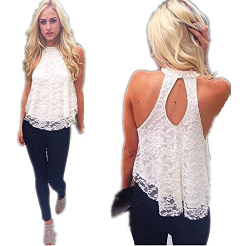 Blouses,Toraway Women Summer Sleeveless Lace Vest Blouse Shirt Tops (Small, White) (White Lace Tank compare prices)