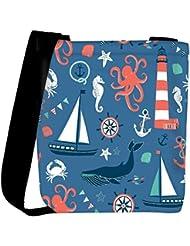 Snoogg Set Of 4 Nautical Cards Womens Carry Around Cross Body Tote Handbag Sling Bags