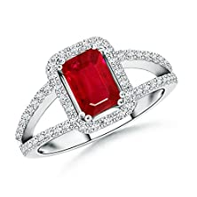 buy Split Shank Emerald Cut Ruby Halo Ring With Diamond Shoulders In Platinum