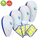 [NEW 2018] Ultrasonic Electromagnetic Pest Control Repeller Plugin (Set of 4) Ideal Electronic Pest Control to Repel Mouse Spiders Cock Roaches Mosquitos Ants |Non-Toxic, Pet Safe By Pest-Be-Off!