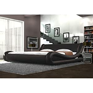 Faux leather brown curved bed frame modern italian for Stylish leather beds