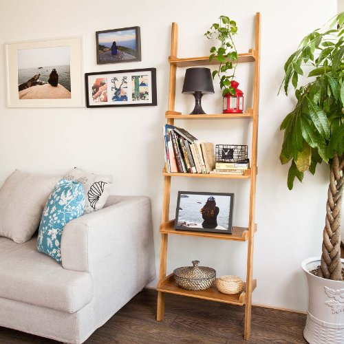 Modern ladder shelf made of wood with five floors Black Friday & Cyber Monday