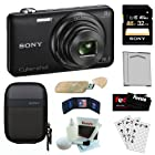 Sony Cyber-shot DSC-WX80/B Compact Zoom Digital Camera in Black + Sony 32GB SDHC Class 10 + Semi-Hard Camera Case + Replacement NP-BN1 Battery + USB Card Reader + Accessory Kit