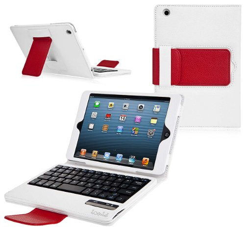Ionic Bluetooth Keyboard Tablet Stand Leather Case for New Apple iPad Mini 7.9 inch / the iPad Mini 7 Inch / built-in Stand for Apple iPad Mini 7.9 inch Latest Generation 4G LTE (Black/ Brown)
