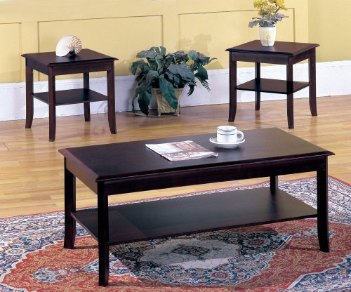 Kings Brand Furniture 3 Piece Wood Occasional Coffee Table & 2 End Tables Set, Cherry (Wood Coffee Table Set Of 3 compare prices)