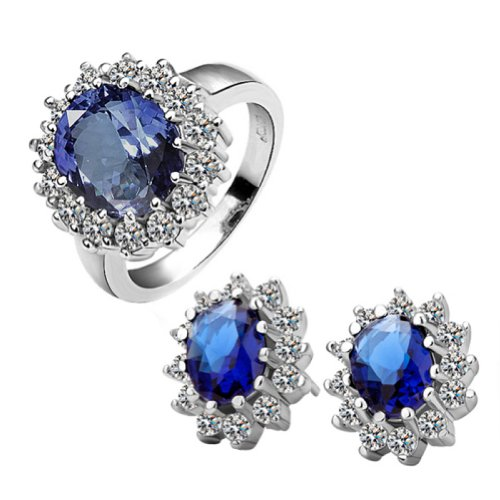 18k Gold Plated Swarovski Elements Crystal CZ Rhinestone jewelry Sets Blue Ring & Earrings