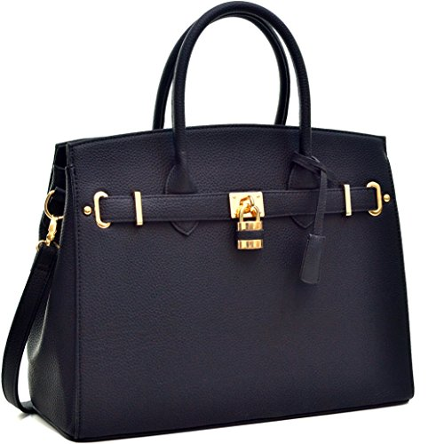 dasein-faux-leather-work-satchel-with-padlock-black