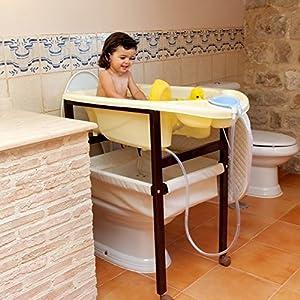 Bañera de madera para bebé vichy beige. Set de regalo para el baño de TORAL BEBE SL