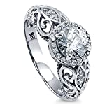 BERRICLE Sterling Silver 1.18 Carat Round Cubic Zirconia CZ Art Deco Halo Promise Engagement Ring