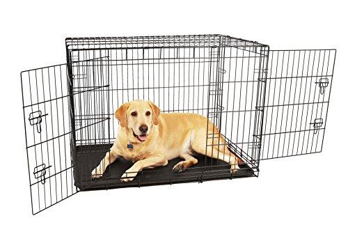 Carlson-Pet-Products-Hundekfig-kompakt-und-sicher-Doppeltr-Metall-gro-Schwarz